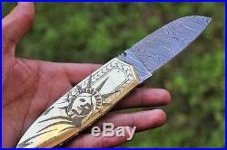 DKC-67 LADY LIBERTY Brass Damascus Folding pocket Knife Polished Brass 5 Folded