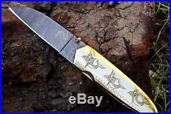 DKC-76 MARLIN Fish BRASS Damascus Folding Pocket Knife 5 Folded, 9 Open 11.5 O
