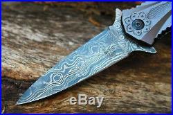 Damascus 3.2Blade Folding knife withLiner Lock, Pocket Clip, Cover-UDK-usa-188