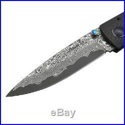 Damascus Blade Folding Knife 3.75 Carbon Fiber Handle 2.75 Blade, E, 6102CFO-11D