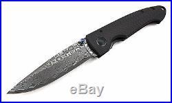 Damascus Blade Folding Knife, 4.5'' Contoured Carbon Fiber Handle, 3.25 Blade
