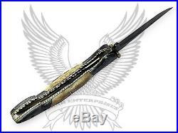 Damascus Custom Handmade Liner Lock Folding Knife Pattern Palm Leaf 8.5 Inches