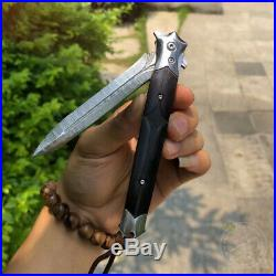 Damascus Flipper Folding Knife Dagger Tool Camping Knife Collectible With Sheath