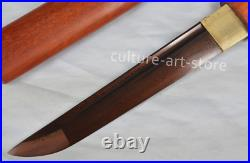Damascus Folded Steel Blade Handmade Shirasaya Samurai Tanto Knife Sharp