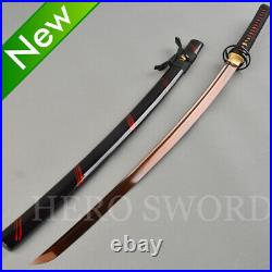 Damascus Folded Steel Samurai Katana Sword Red Black Japanese Knife Battle Ready