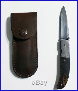 Damascus Folding Knife Mammoth Ivory Scales By Robert Carter
