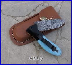 Damascus Folding Knife Powder coated Bolster Resin sheet Turquoise look Handle
