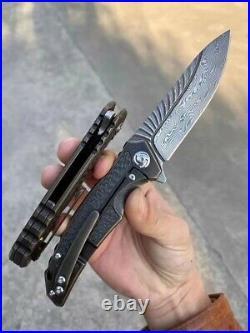 Damascus Folding Knife tt Titanium Carbon Fiber Handle Clip Pocket nife camping