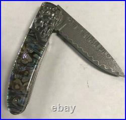 Damascus Steel Abalone Handle Folding Knife JW416