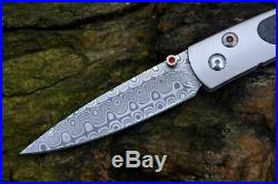 Damascus Steel Blade William Henry gentleman Folding Knife Carbon Fiber Handle
