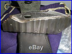 Damascus Steel Folding Knife Rock Blade withLeather Sheath
