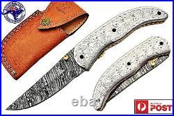 Damascus Steel Handmade 7 Camping Folding Pocket Knife Engraved Steel F17