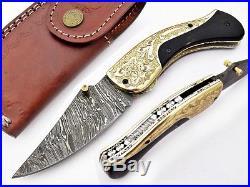 Damascus Steel Handmade 8 Folding Pocket Knife Bull Horn & Engraved Brass F1