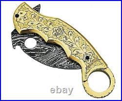 Damascus Steel Handmade 9 Karambit Folding Pocket Knife Engraved Brass Frame 10