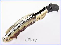 Damascus Steel Handmade 9 Karambit Folding Pocket Knife Ram Horn Engraved F20