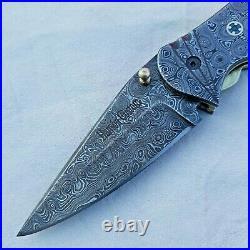 Damascus Steel Handmade Folding Pocket Knife Beautiful Raindrop Pattern