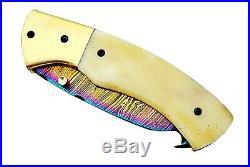Damascus Steel Handmade Titanium 7 Camping Folding Pocket Knife Camel Bone F32
