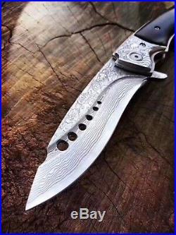 Damascus Steel Hunting Knife Camping Army Rescue Folding Pocket Knife Padauk Edc