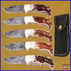 Damascus Steel Lock Back Folding Pocket Knife Stag Antler Horn Handle Lot of 5