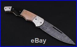 Damascus Steel blade BIG SIZE, LINER LOCK, FOLDING KNIFE, ENGRAVE NICKLE SILVER