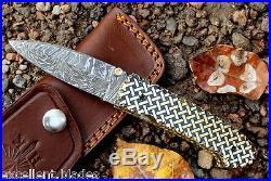 Damascus knife custom handmade Liner Lock folding knife amaizing file work