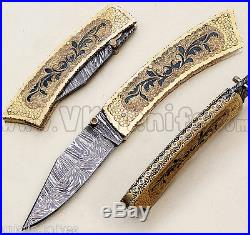Damascus knife handmade Liner Lock folding knife amaizing file work vk0022