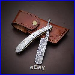 Damascus knife handmade Razor folding knife amazing file work JNR1035