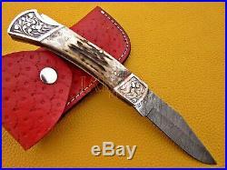 Damascus steel HANDMADE blade POCKET FOLDING KNIFE handle STAGE HORN