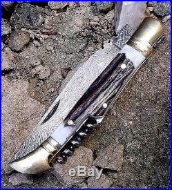 Damascus steel folding pocket knife, camping knife utility knife survival knife H