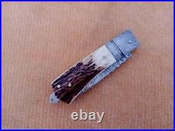 Damascusfeather Pattrencustom Handmade Rare Folding Pocket Knife 8.5 Sheath