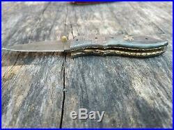 David Yellowhorse Damascus eagle engraved signature bone folding knife Dave DY