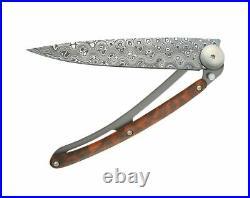 Deejo Prestige Folding Knife 3 Damascus Steel Blade Snakewood/Titanium Handle