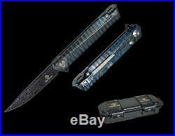 Defcon Blue BURNT STRIPE TITANIUM Manual Open Pocket Knife FOLDING DAMASCUS NEW