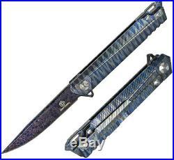 Defcon Draco Folding Knife 4 Damascus Steel Blade Blue Anodized Titanium Handle