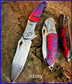 Drop Point Folding Knife Pocket Flipper Hunting Tactical Combat Damascus Steel S