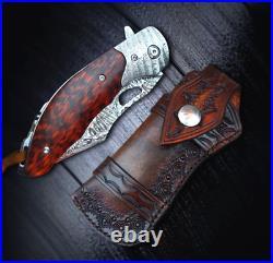 Drop Point Folding Knife Pocket Flipper Hunting Tactical Damascus Steel Handmade