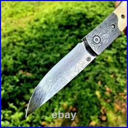 Drop Point Folding Knife Pocket Hunting Survival Damascus Steel Antler Handle 3