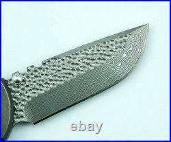 Drop Point Folding Knife Pocket Hunting Survival Damascus Steel Titanium Handle