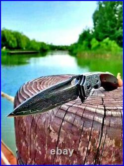 Drop Point Folding Knife Pocket Hunting Tactical Combat Damascus Steel Premium S