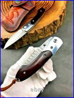 Drop Point Folding Knife Pocket Hunting Tactical Combat Forged Damascus Steel 3