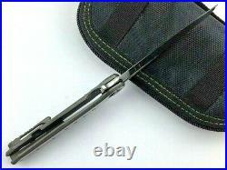 Drop Point Folding Knife Pocket Hunting Tactical Damascus Steel Titanium Handle