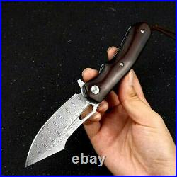Drop Point Folding Knife Pocket Hunting Wild Tactical Damascus Steel Wood Handle