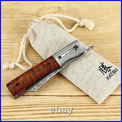 Durable Damascus Steel Folding Knife with Snake Wood Handle 7.5 Inch Length