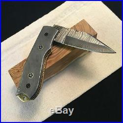 Folding Damascus Knife, Handmade Forge, Single Copy