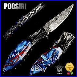 Folding Knife Pk02136 Damascus Steel Blade Kirinite / Bull Horn Handle Poosiri