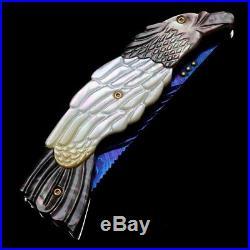 Folding Knife Pk05021 Damascus Steel Blade Black & White Pearl Handle Poosiri