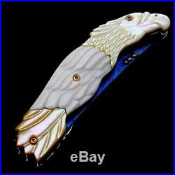 Folding Knife Pk05023 Damascus Steel Blade Carved Gold Pearl & White Clam Handle