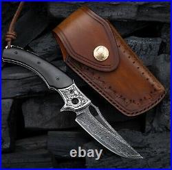 Folding Knife VG10 Damascus Steel Ebony Handle EDC Knives Hunting Handmade