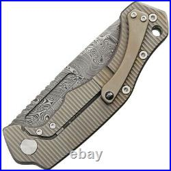Fox Desert Framelock Folding Knife 3.75 Damascus Steel Blade Titanium Handle