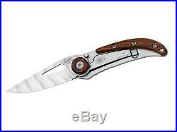 Fox Italy 364 Damascus Trendy One Hand Pocket Folding Knife / Wood Metal Box